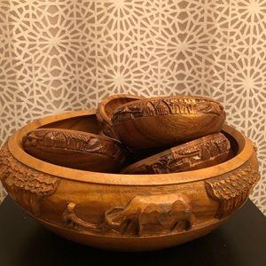 RARE Vintage Large Wooden Carved Salad Bowl Set